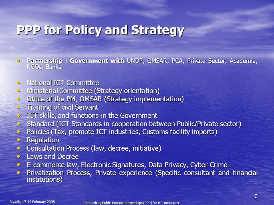 PPP for Policy and Strategy