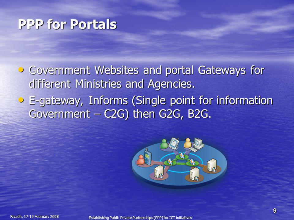 PPP for Portals Government Websites and portal Gateways for different Ministries and Agencies.