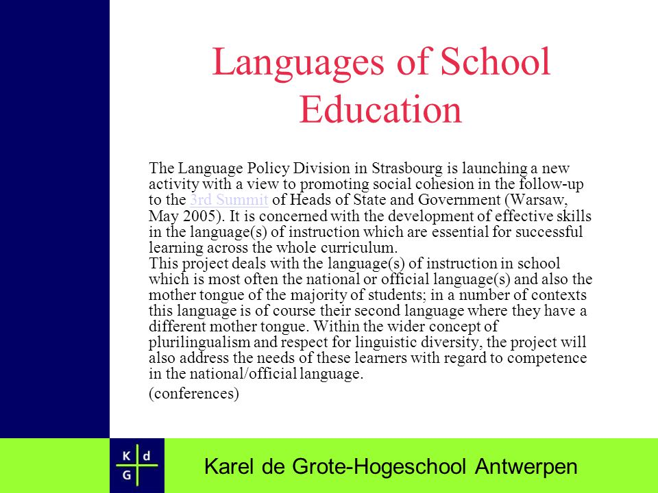 Languages of School Education
