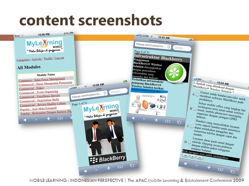 content screenshots MOBILE LEARNING : INDONESIAN PERSPECTIVE | The APAC Mobile Learning & Edutainment Conference 2009.