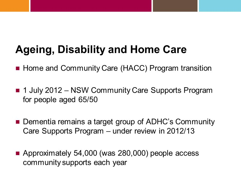 Dementia 2011/2012 – ADHC funded 65 new dementia projects across NSW