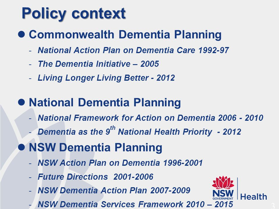 NSW Dementia Services Framework