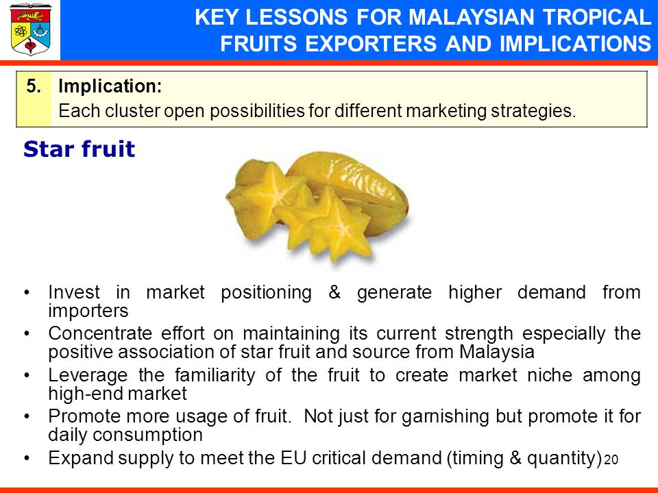 KEY LESSONS FOR MALAYSIAN TROPICAL FRUITS EXPORTERS AND IMPLICATIONS
