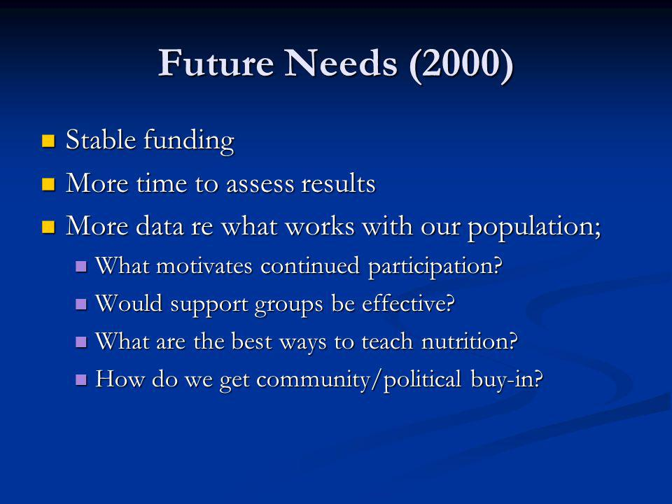 Future Needs (2000) Stable funding More time to assess results