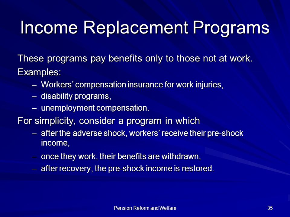 Income Replacement Programs