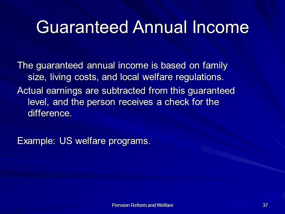 Guaranteed Annual Income