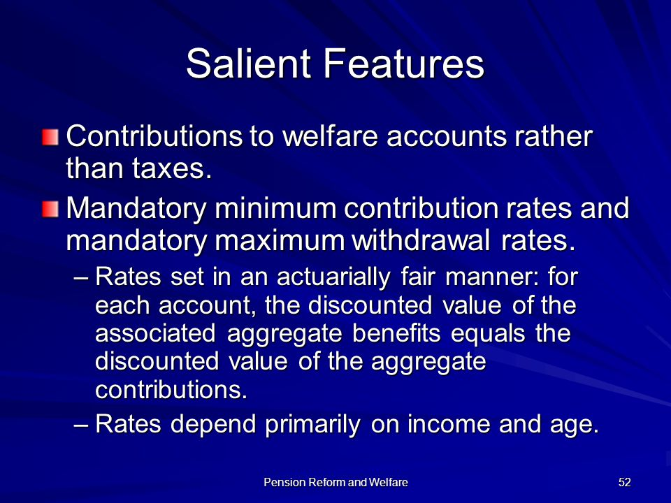 Pension Reform and Welfare