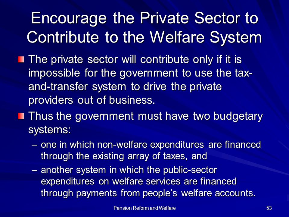 Encourage the Private Sector to Contribute to the Welfare System
