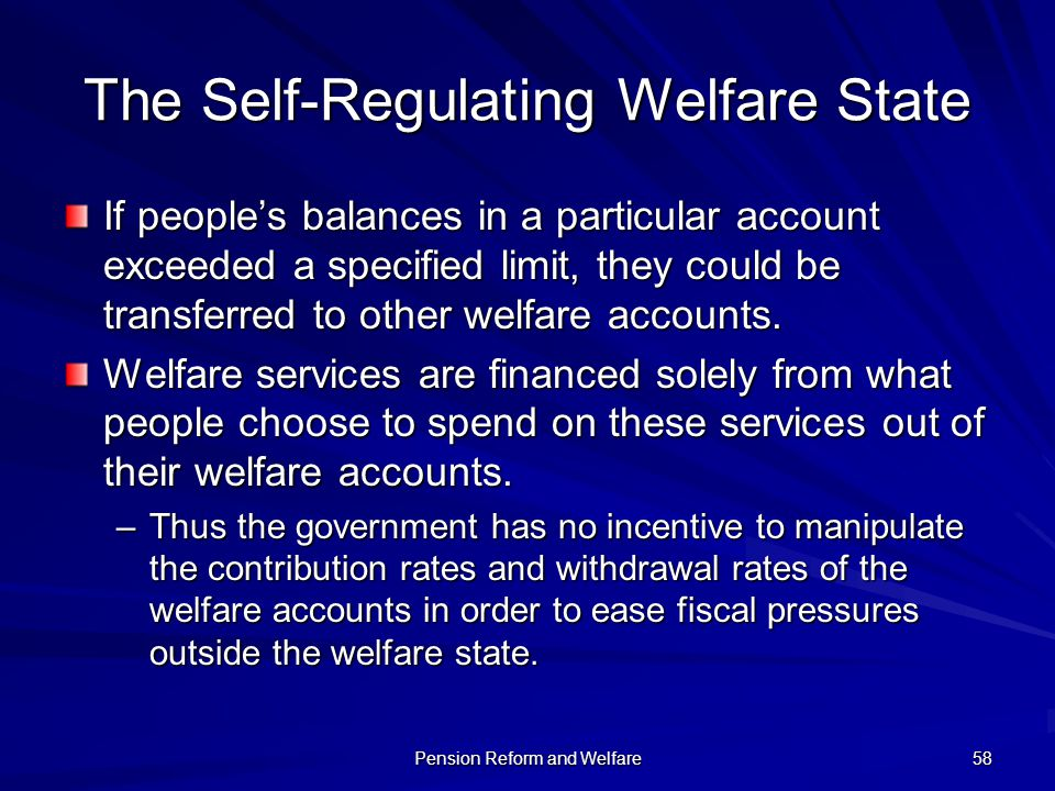 The Self-Regulating Welfare State