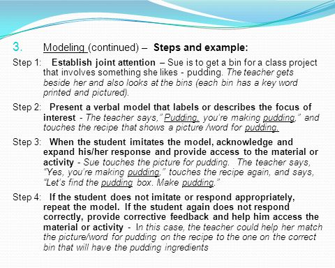 Modeling (continued) – Steps and example: