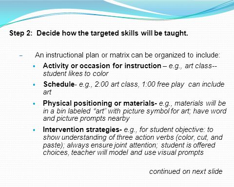 Step 2: Decide how the targeted skills will be taught.