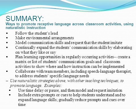 SUMMARY: Ways to promote receptive language across classroom activities, using naturalistic instruction