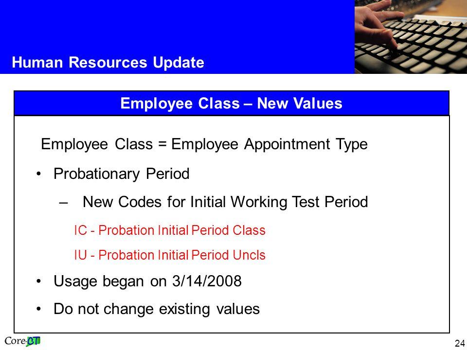 Employee Class – New Values