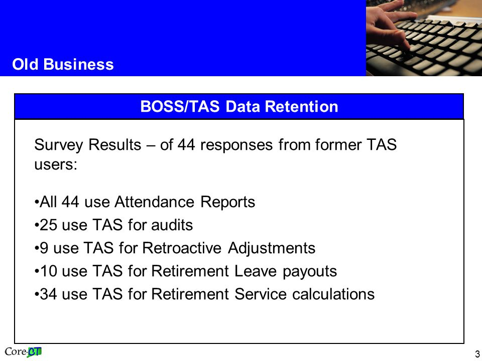 BOSS/TAS Data Retention