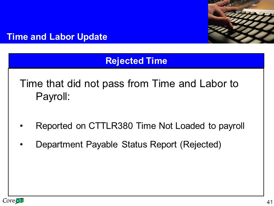 Time that did not pass from Time and Labor to Payroll: