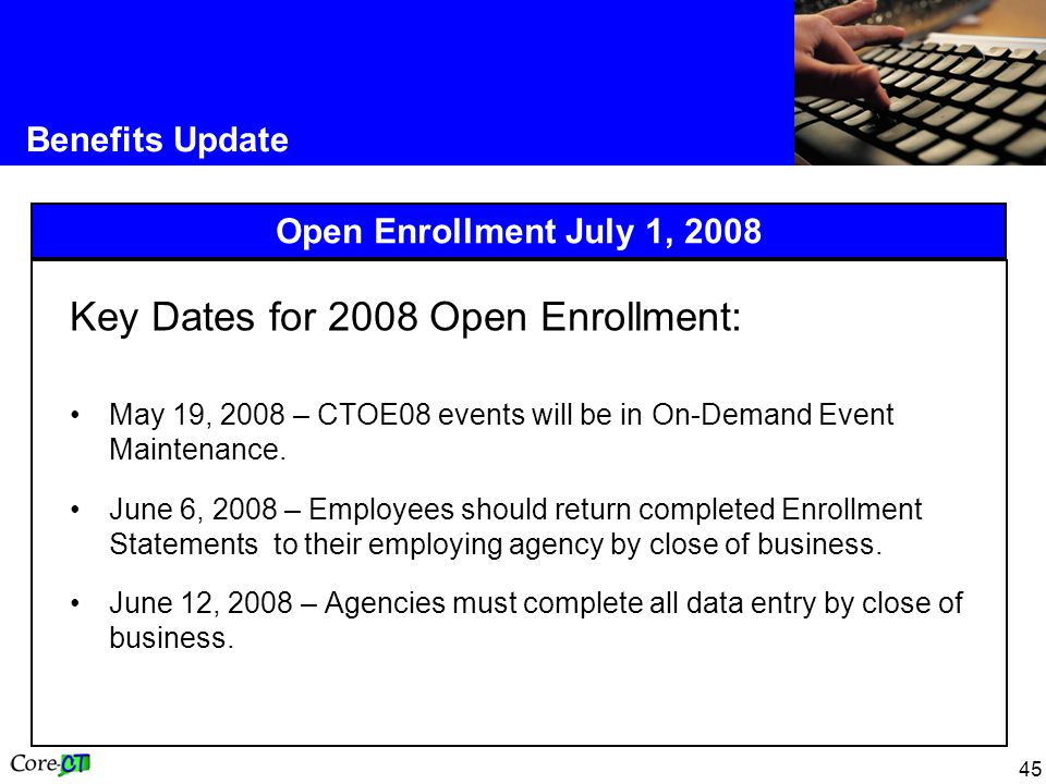 Key Dates for 2008 Open Enrollment: