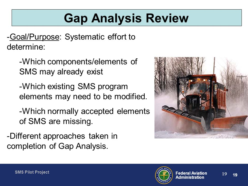 Gap Analysis Review Goal/Purpose: Systematic effort to determine: