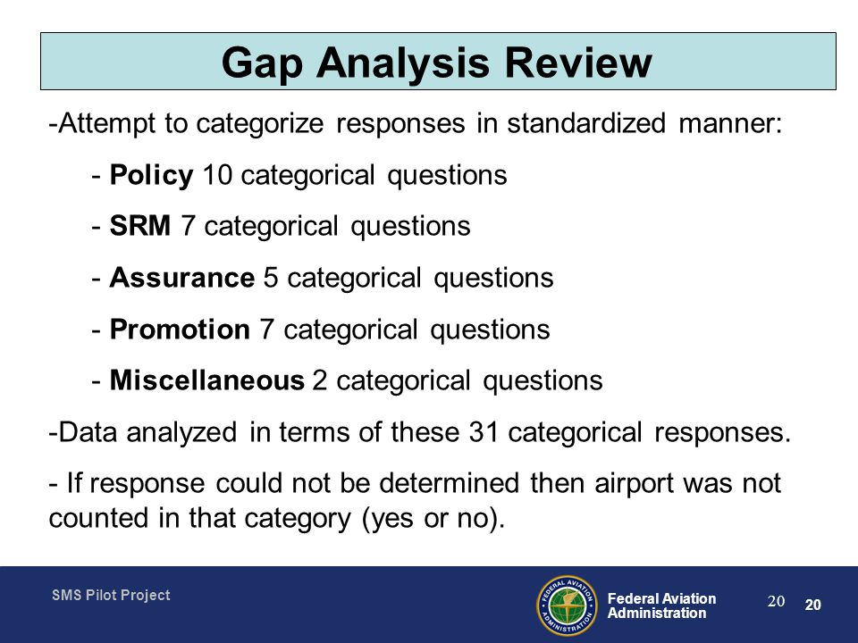 Gap Analysis Review Attempt to categorize responses in standardized manner: Policy 10 categorical questions.