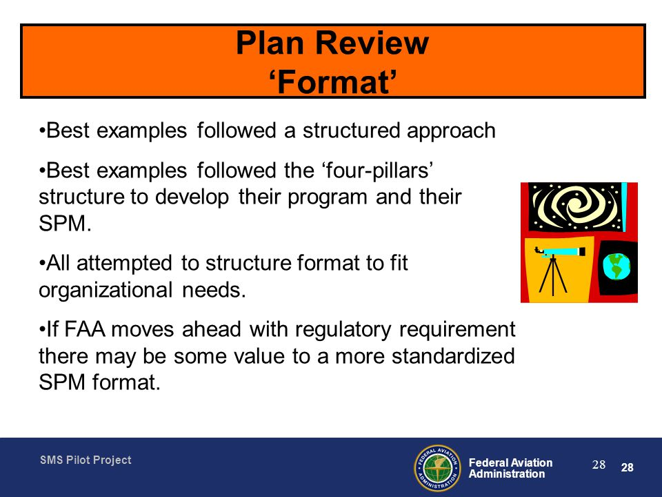 Plan Review 'Format' Best examples followed a structured approach