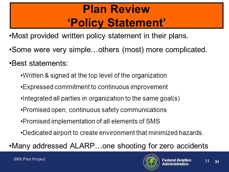 Plan Review 'Policy Statement'