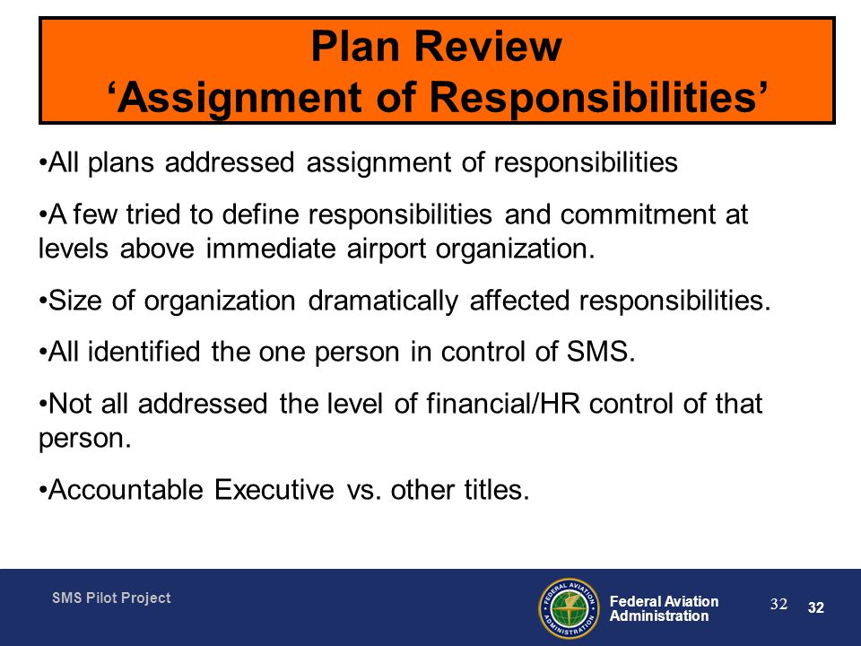 Plan Review 'Assignment of Responsibilities'