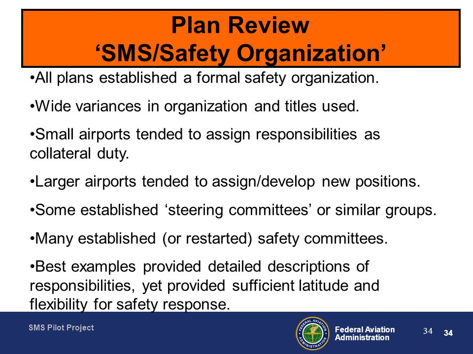 Plan Review 'SMS/Safety Organization'