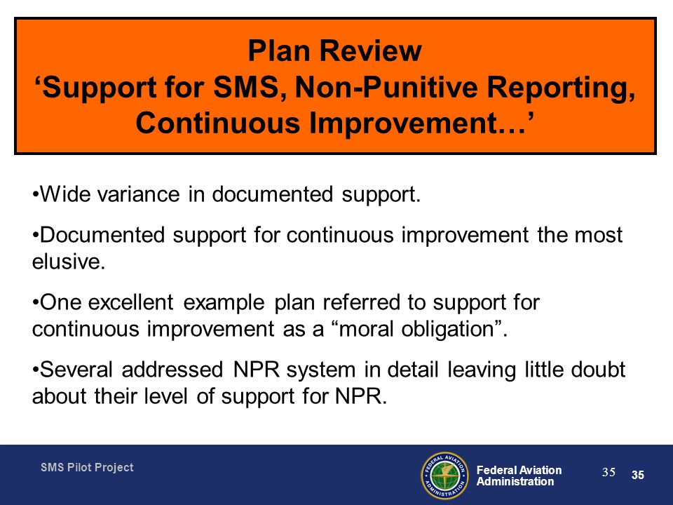 Plan Review 'Support for SMS, Non-Punitive Reporting, Continuous Improvement…'