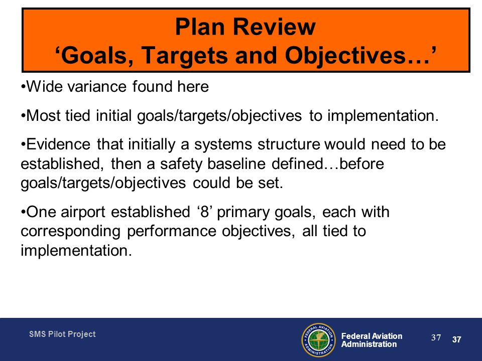 Plan Review 'Goals, Targets and Objectives…'