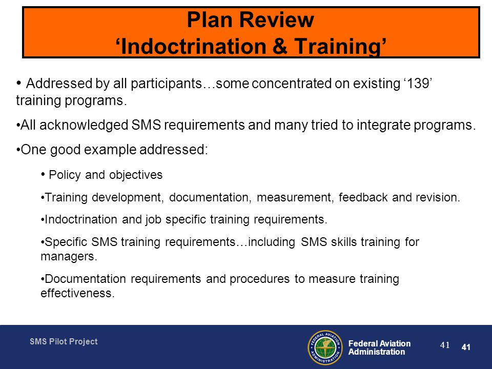 Plan Review 'Indoctrination & Training'