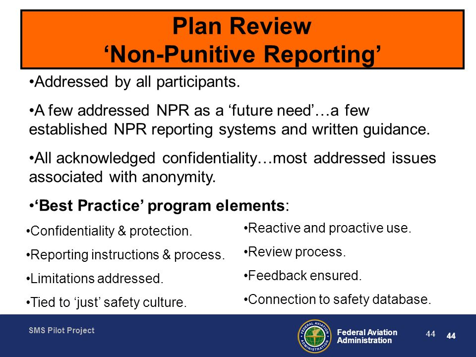 Plan Review 'Non-Punitive Reporting'