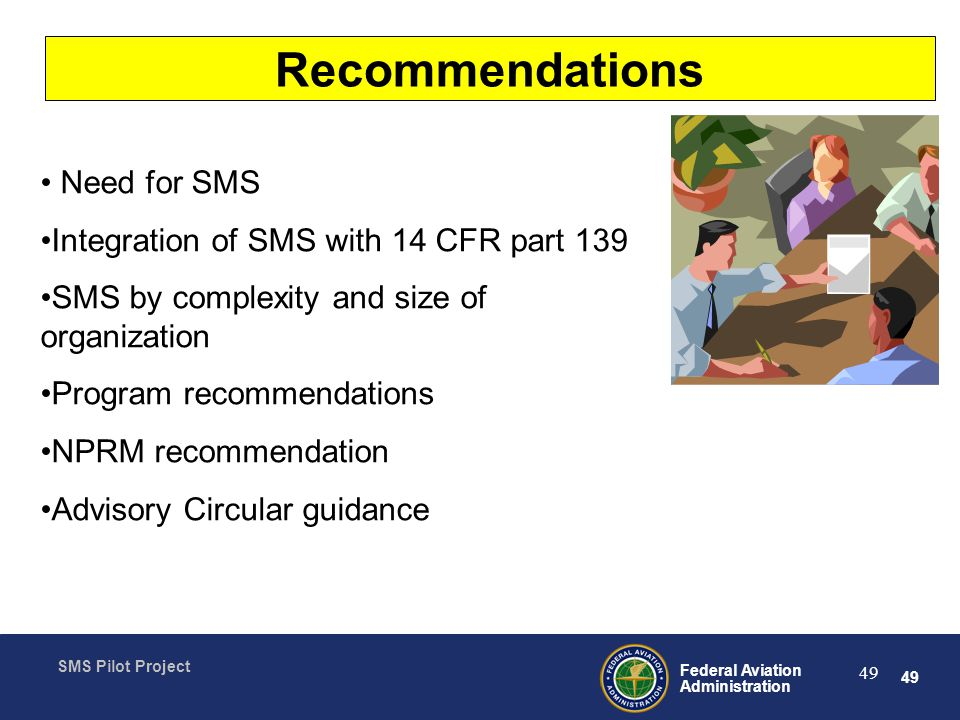 Recommendations Need for SMS Integration of SMS with 14 CFR part 139