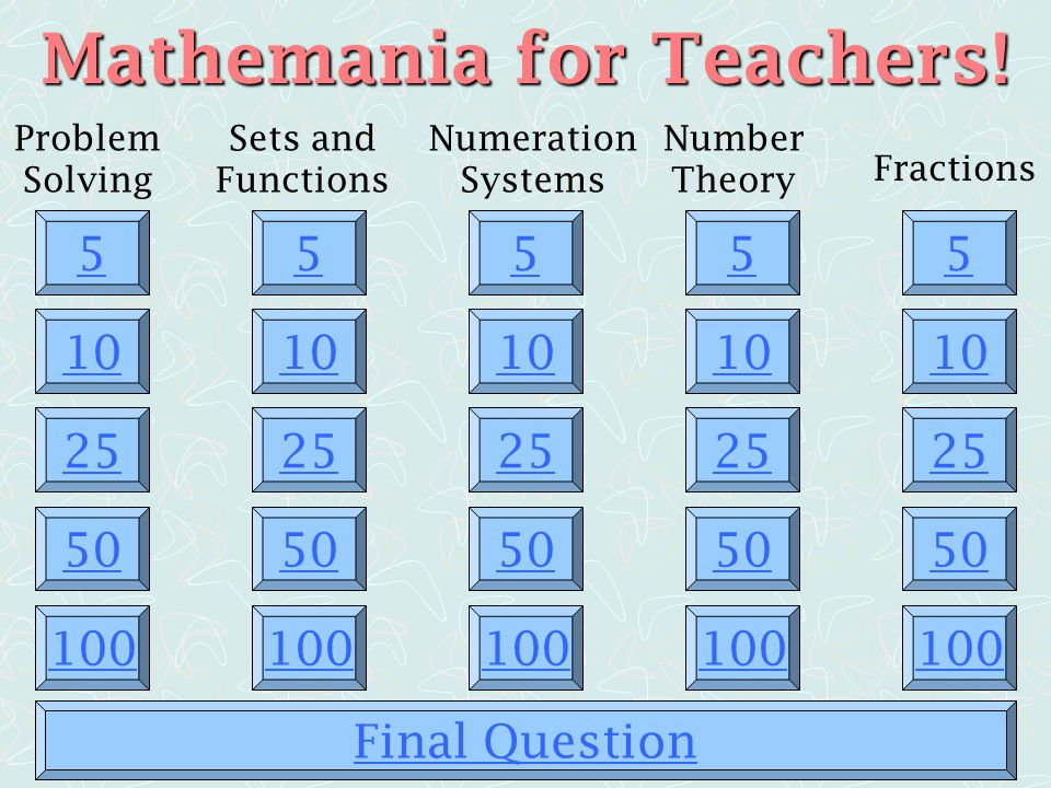 Mathemania for Teachers!