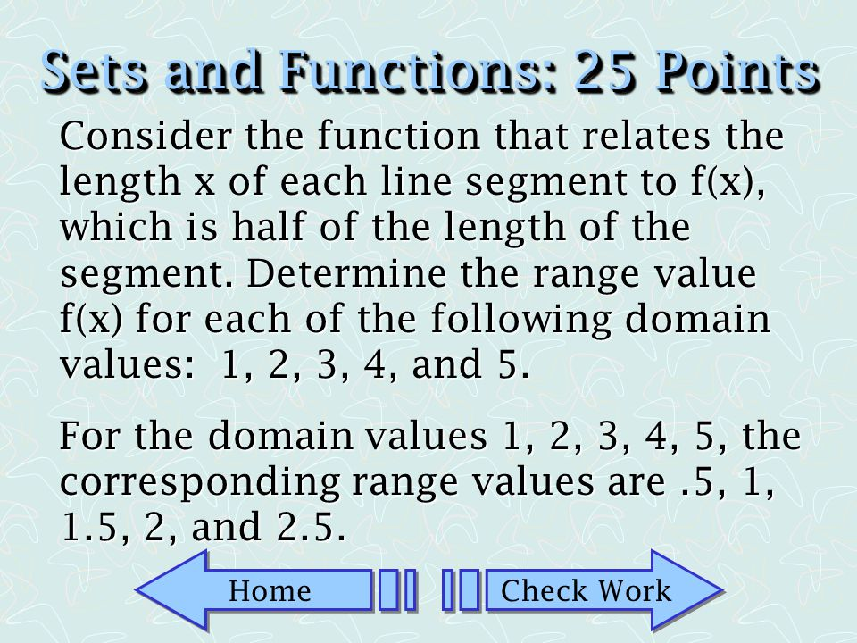 Sets and Functions: 25 Points
