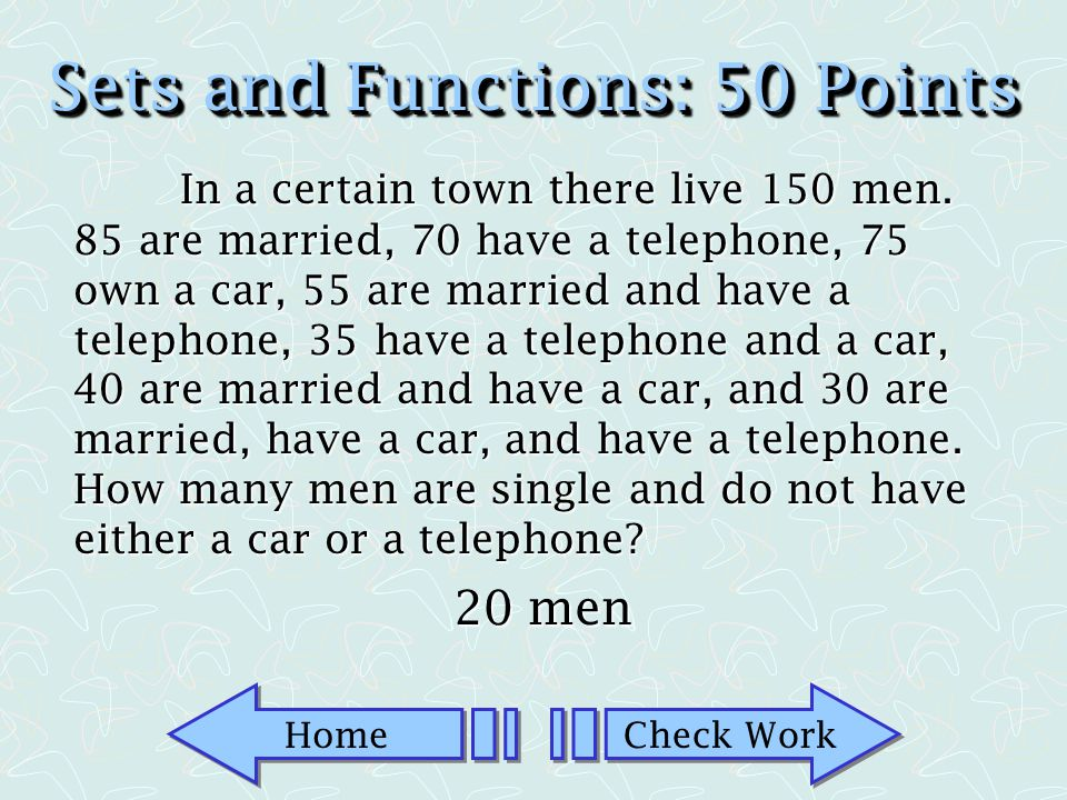 Sets and Functions: 50 Points