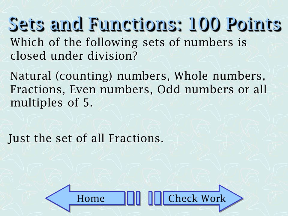 Sets and Functions: 100 Points