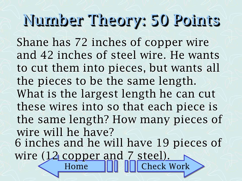 Number Theory: 50 Points