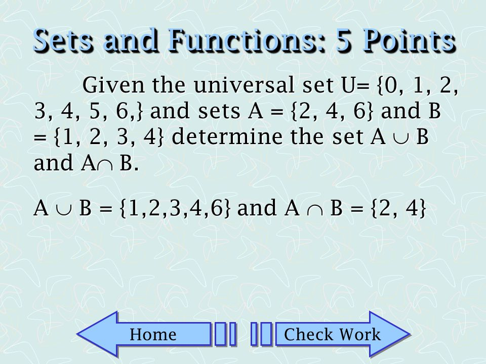 Sets and Functions: 5 Points
