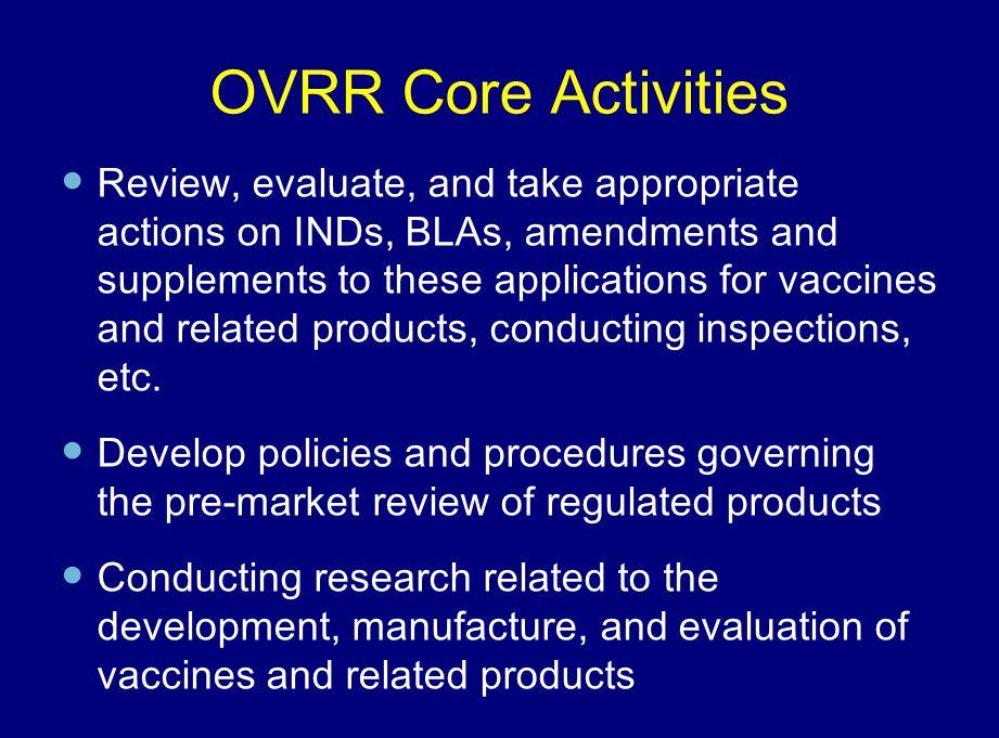 OVRR Core Activities