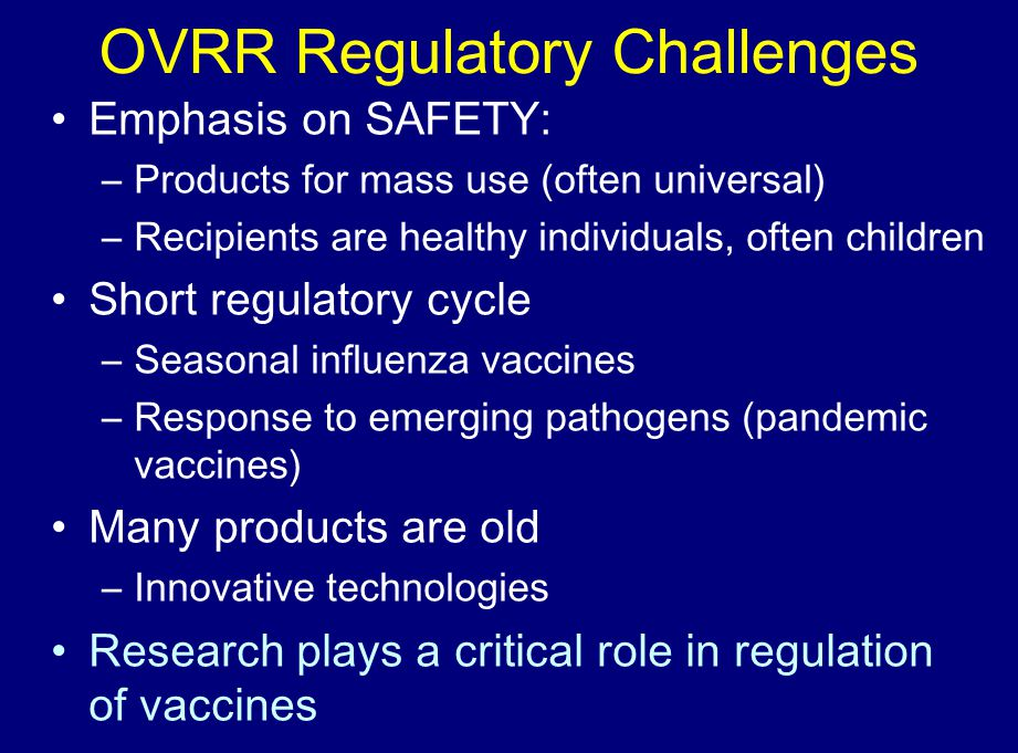 OVRR Regulatory Challenges