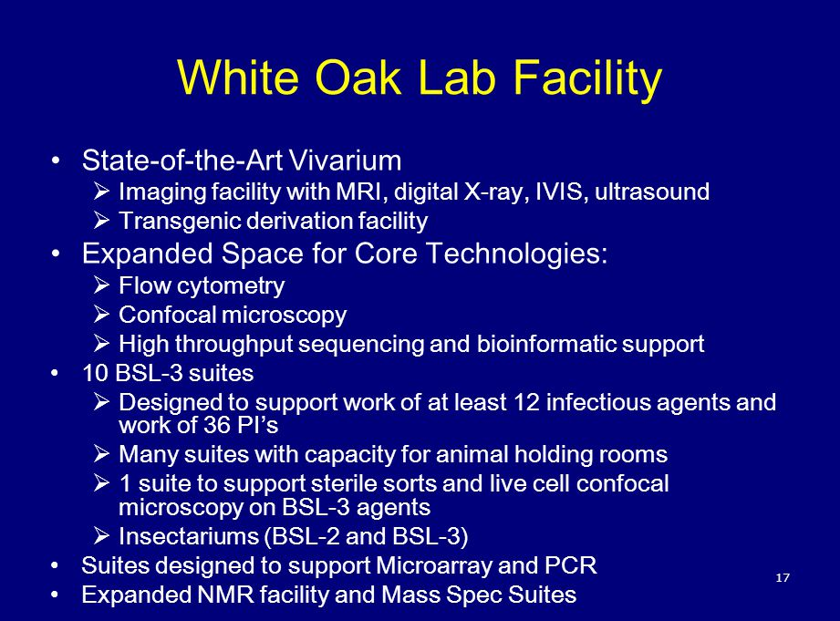 White Oak Lab Facility State-of-the-Art Vivarium