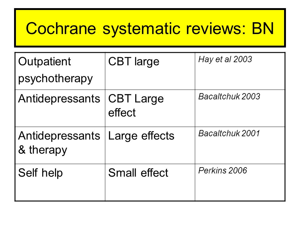 Cochrane systematic reviews: BN
