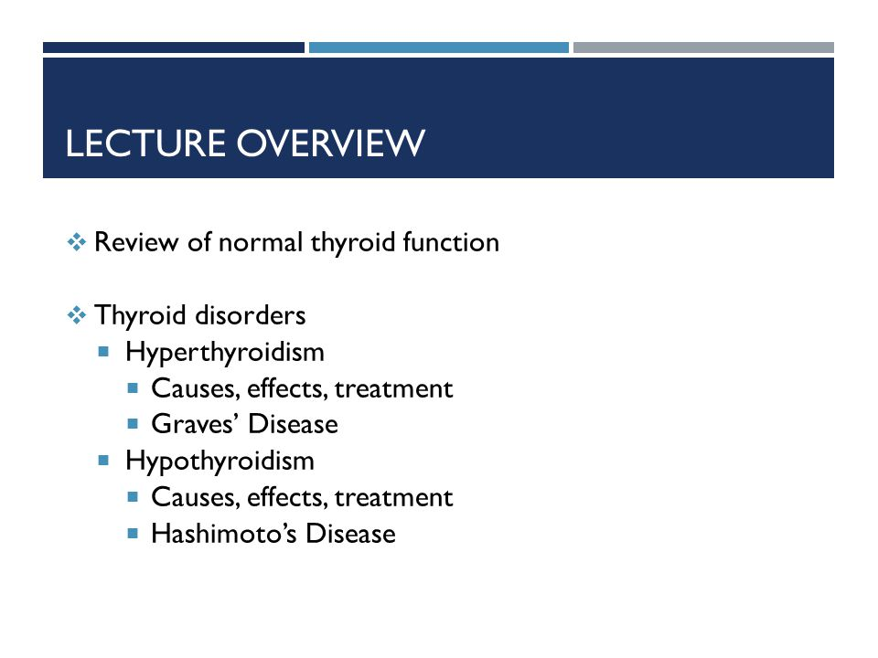 Lecture Overview Review of normal thyroid function Thyroid disorders