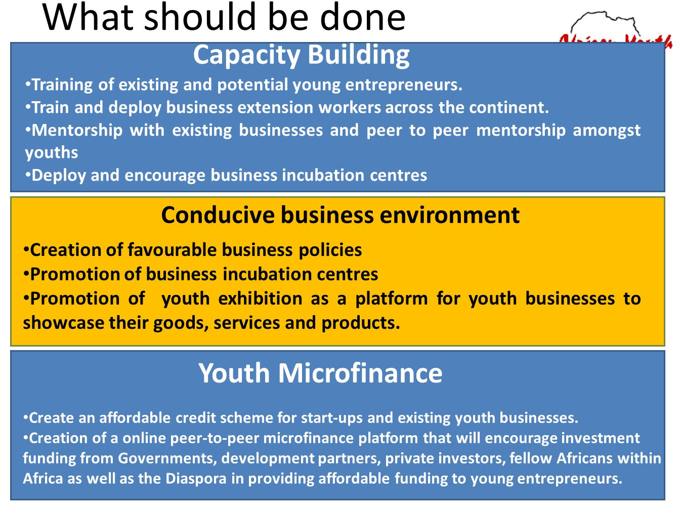 What should be done Capacity Building Youth Microfinance