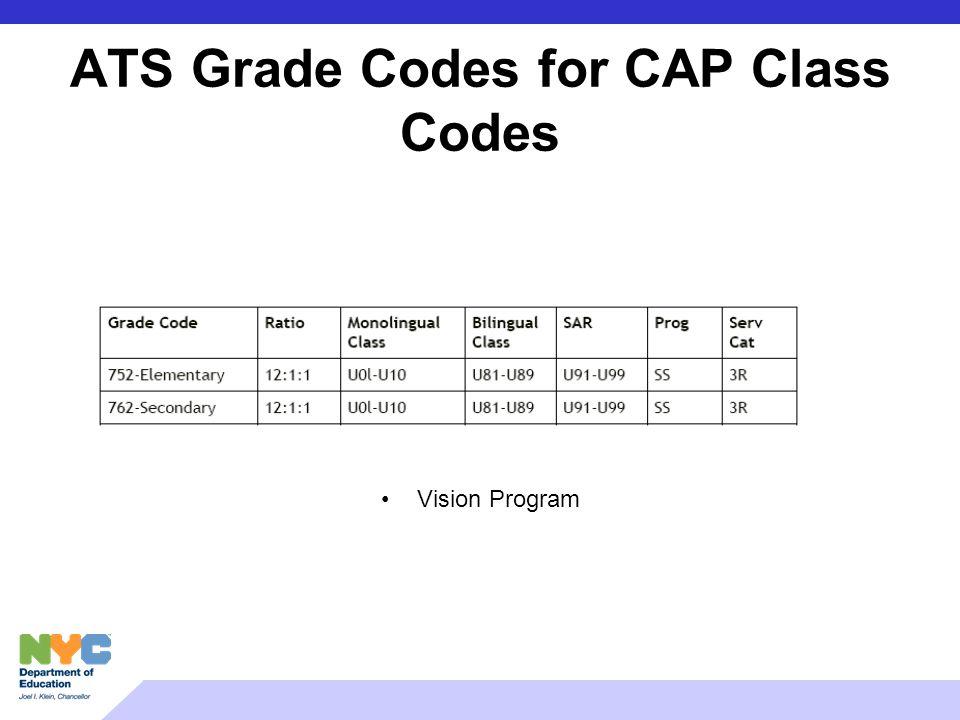 ATS Grade Codes for CAP Class Codes