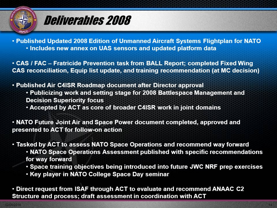 Deliverables 2008 Published Updated 2008 Edition of Unmanned Aircraft Systems Flightplan for NATO.