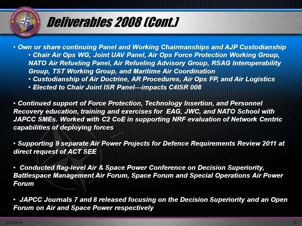 Deliverables 2008 (Cont.) Own or share continuing Panel and Working Chairmanships and AJP Custodianship.