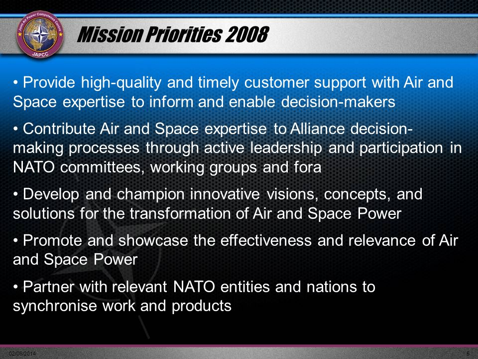 Mission Priorities 2008 Provide high-quality and timely customer support with Air and Space expertise to inform and enable decision-makers.
