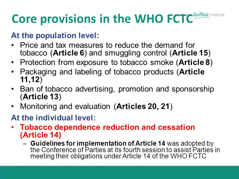 Core provisions in the WHO FCTC