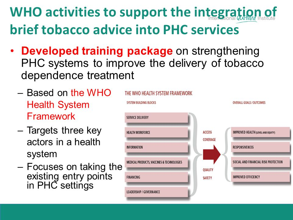 WHO activities to support the integration of brief tobacco advice into PHC services