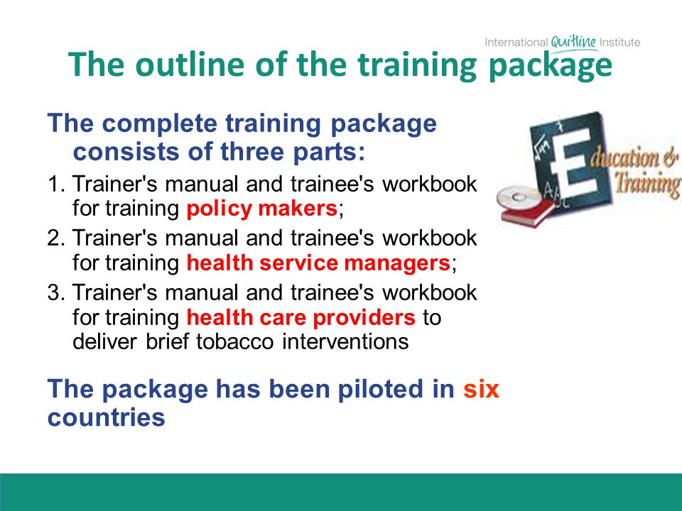 The outline of the training package